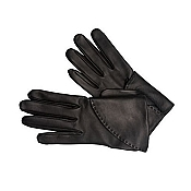 Pineider Women's Leather Gloves - Black Short Nappa