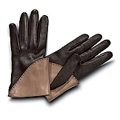 Pineider Women's Leather Gloves - Brown/Mink Short Nappa