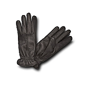 Pineider Women's Leather Gloves - Black Deerskin