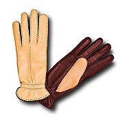 Pineider Women's Leather Gloves - Brown/Yellow Deerskin