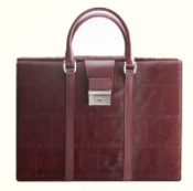 Pineider Cavallino Leather Women's Designer Briefcase - Plum - Limited Edition