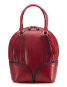 Pineider 1774 Leather Women's Bowling Handbag - Red