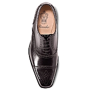 Pineider Men's Leather Shoes - Black Semi Brogue Oxford