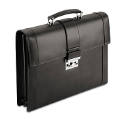 Pineider Power Elegance Luxury Leather Executive Briefcase - Black - Double Gusset