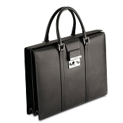 Pineider Power Elegance Luxury Leather Women's Executive Briefcase - Black - Double Gusset