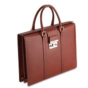 Pineider Power Elegance Leather Women's Luxury Briefcase - Double Gusset