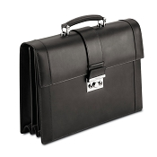 Pineider Power Elegance Luxury Leather Executive Briefcase - Black - Triple Gusset