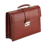 Pineider Power Elegance Leather Luxury Briefcase - Triple Gusset