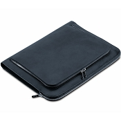 Pineider Power Elegance Luxury Leather Portfolio Briefcase - Black - Zip Around