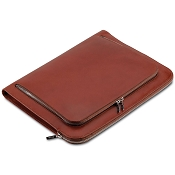 Pineider Power Elegance Leather Luxury Document Case-Reddish Brown Zip Around
