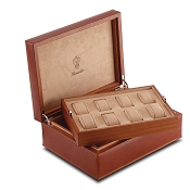 Pineider Power Elegance Leather-Wood Two-Level 8 Watch Storage Case