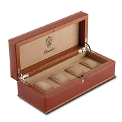 Pineider Power Elegance Leather 4 Watch Storage Case
