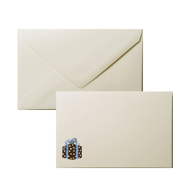 Pineider Birthday Card - Present with Ribbons - Ivory - Small