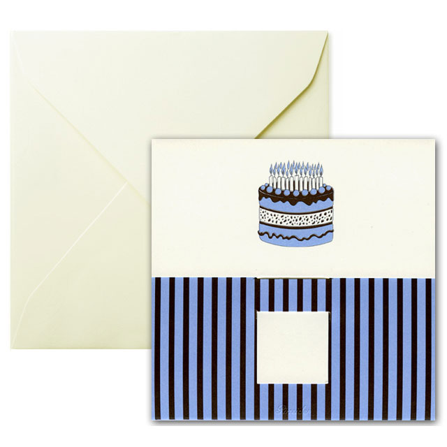 Pineider Birthday Card - Cake with Candles - Ivory - Square