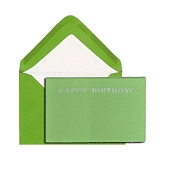 Pineider Hand-Engraved Happy Birthday Cards - Green