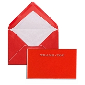 Pineider Hand-Engraved Thank You Cards - Red-White