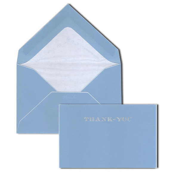 Pineider Hand-Engraved Thank You Cards - Turquoise-White