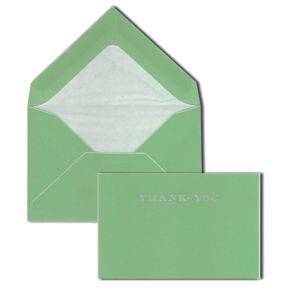 Pineider Hand-Engraved Thank You Cards - Green-White