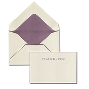Pineider Hand-Engraved Thank You Cards - Suede-Bordeaux