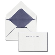 Pineider Hand-Engraved Thank You Cards - White-Blue