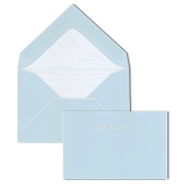 Pineider Hand-Engraved Thank You Cards - Light Blue-White