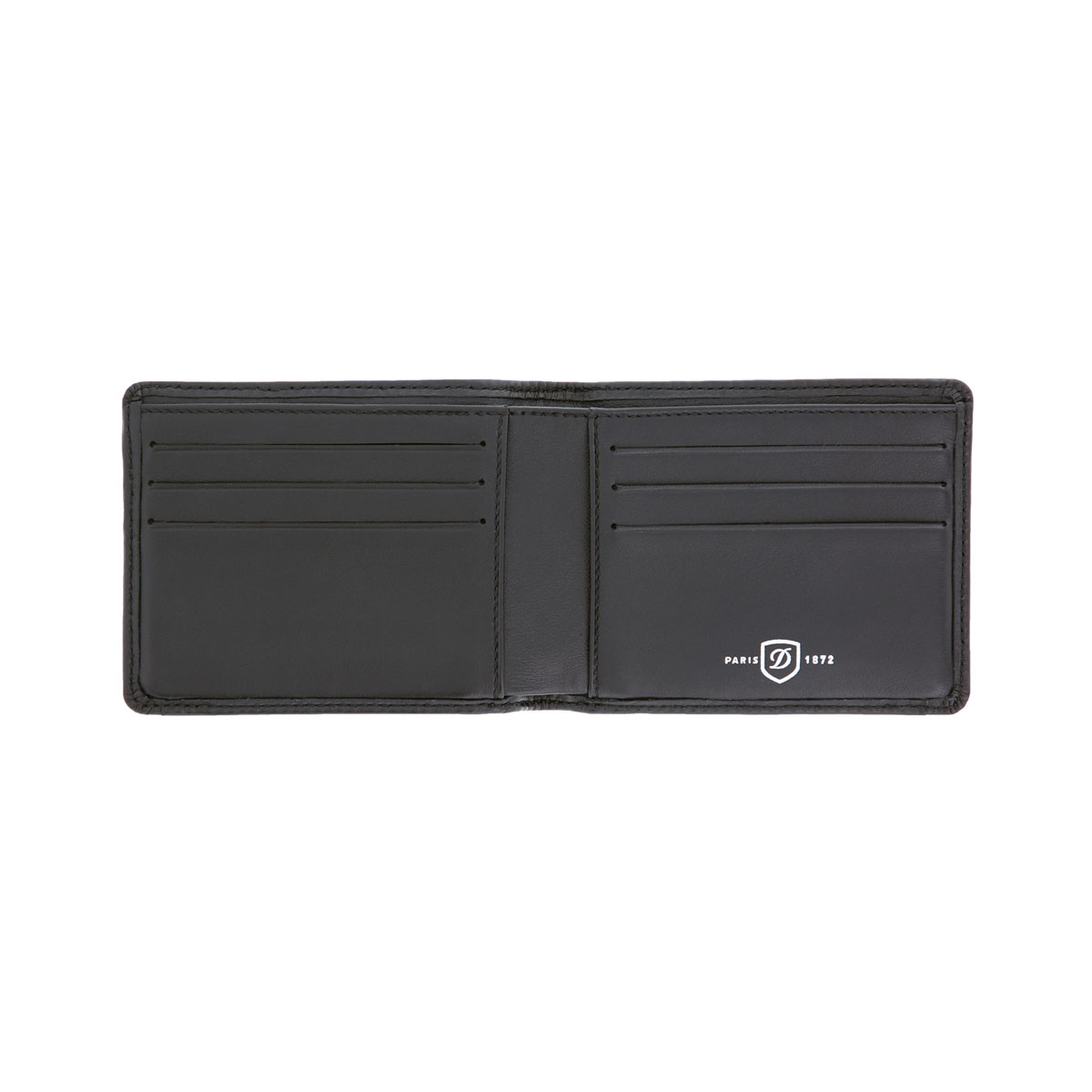 ST Dupont Defi Black Millenium 6 CC Bifold Leather Wallet