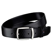 ST Dupont Fire Head Line D Deep Black Leather Belt