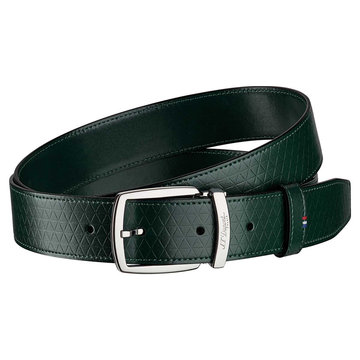 ST Dupont Fire Head Line D Intense Green Leather Belt