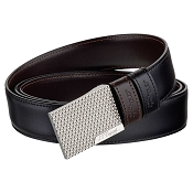 ST Dupont Fire Head Reversible Business Leather Belt - Palladium Compression Buckle