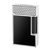 ST Dupont Fire Head Ligne 2 Lighter - Black Lacquer & Palladium