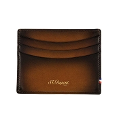 ST Dupont Atelier Leather Credit Card Holder Wallet - Tobacco Brown