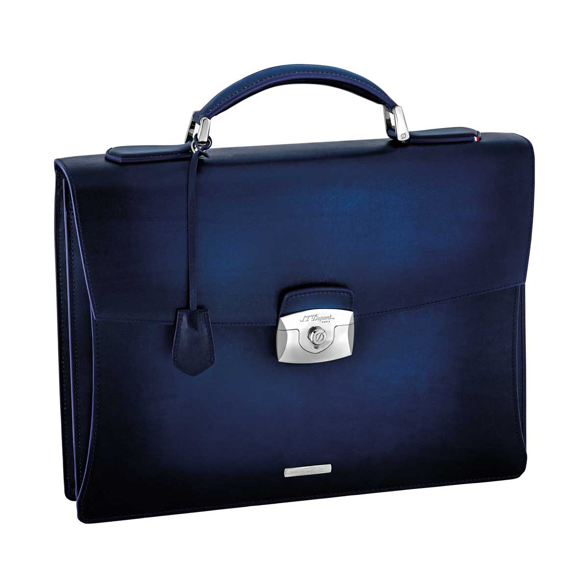 ST Dupont Atelier Midnight Blue Leather Briefcase - Single Gusset