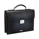 ST Dupont Atelier Black Leather Briefcase - Single Gusset