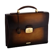 ST Dupont Atelier Tobacco Brown Leather Briefcase - Single Gusset