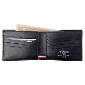 ST Dupont Defi Black Carbon Leather 8 Credit Card Wallet
