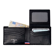 ST Dupont Defi Black Carbon Leather 6 Credit Card ID Window Wallet