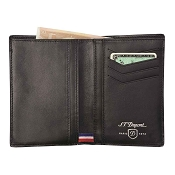 ST Dupont Defi Black Carbon Leather 4 Credit Card Vertical Wallet