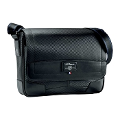 ST Dupont Defi Black Carbon Leather Small Messenger Bag