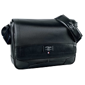 ST Dupont Defi Black Carbon Leather Laptop Messenger Bag