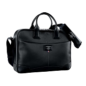 ST Dupont Defi Black Carbon Leather Medium Laptop & Document Holder Bag