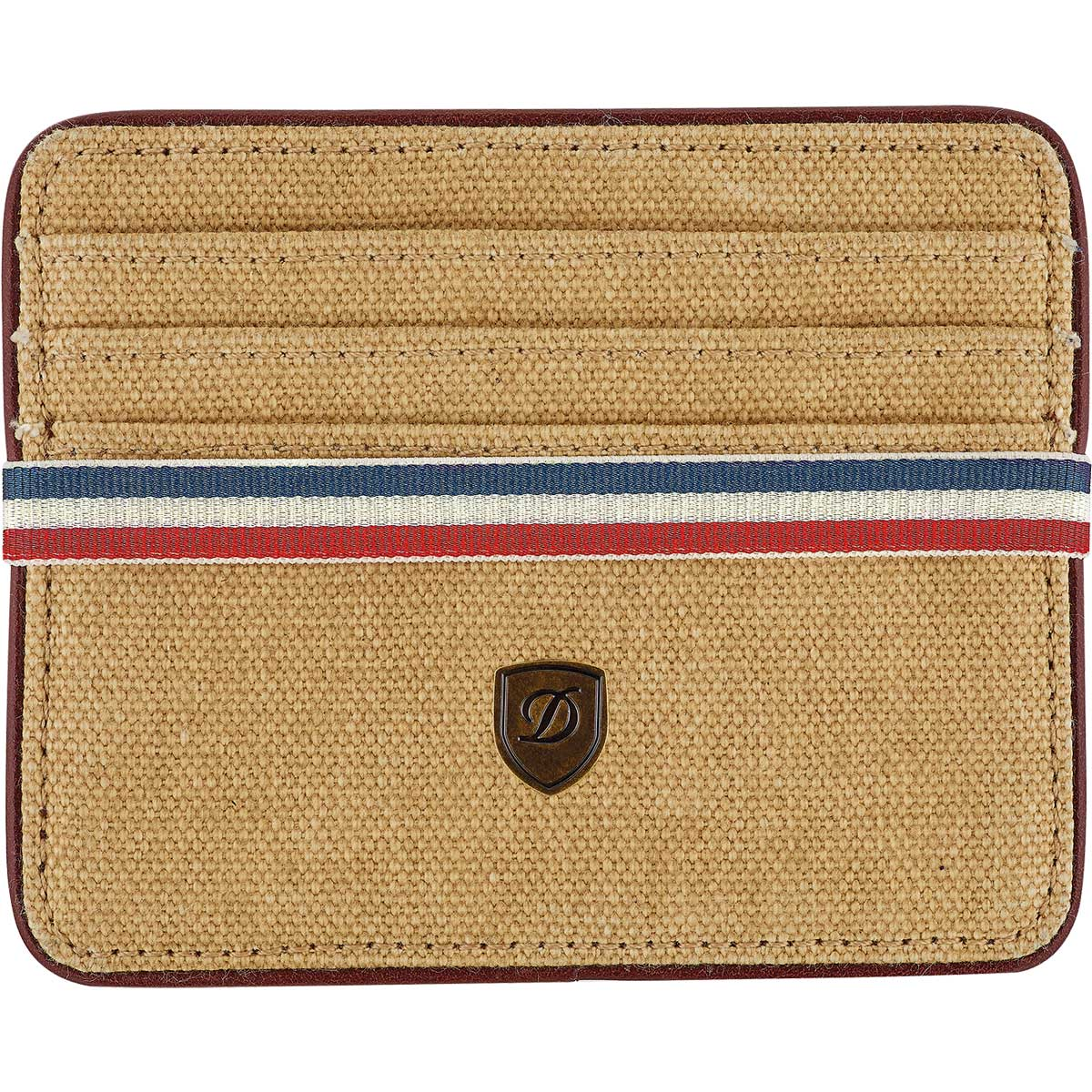 ST Dupont Iconic Multi Credit Card Wallet - Beige Canvas / Cognac Leather