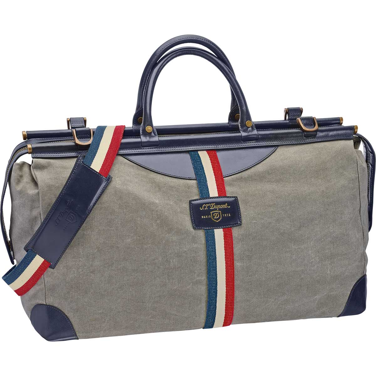 ST Dupont Iconic Bogie Duffle Bag - Gray Canvas / Blue Leather