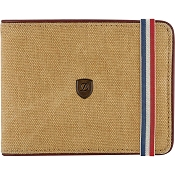ST Dupont Iconic 8 CC Billfold Men's Wallet - Beige Canvas / Cognac Leather