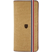 ST Dupont Iconic Long Vertical Men's Wallet - Beige Canvas / Cognac Leather