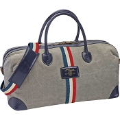 ST Dupont Iconic Cosy Weekend Travel Bag - Gray Canvas / Blue Leather