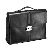 ST Dupont Line D Soft Diamond Double Gusset Black Leather Briefcase