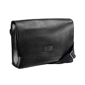ST Dupont Line D Soft Diamond Black Leather Men's Messenger Bag