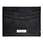 ST Dupont Soft Diamond Grained Black Leather Men's RFID Credit Card Holder Wallet