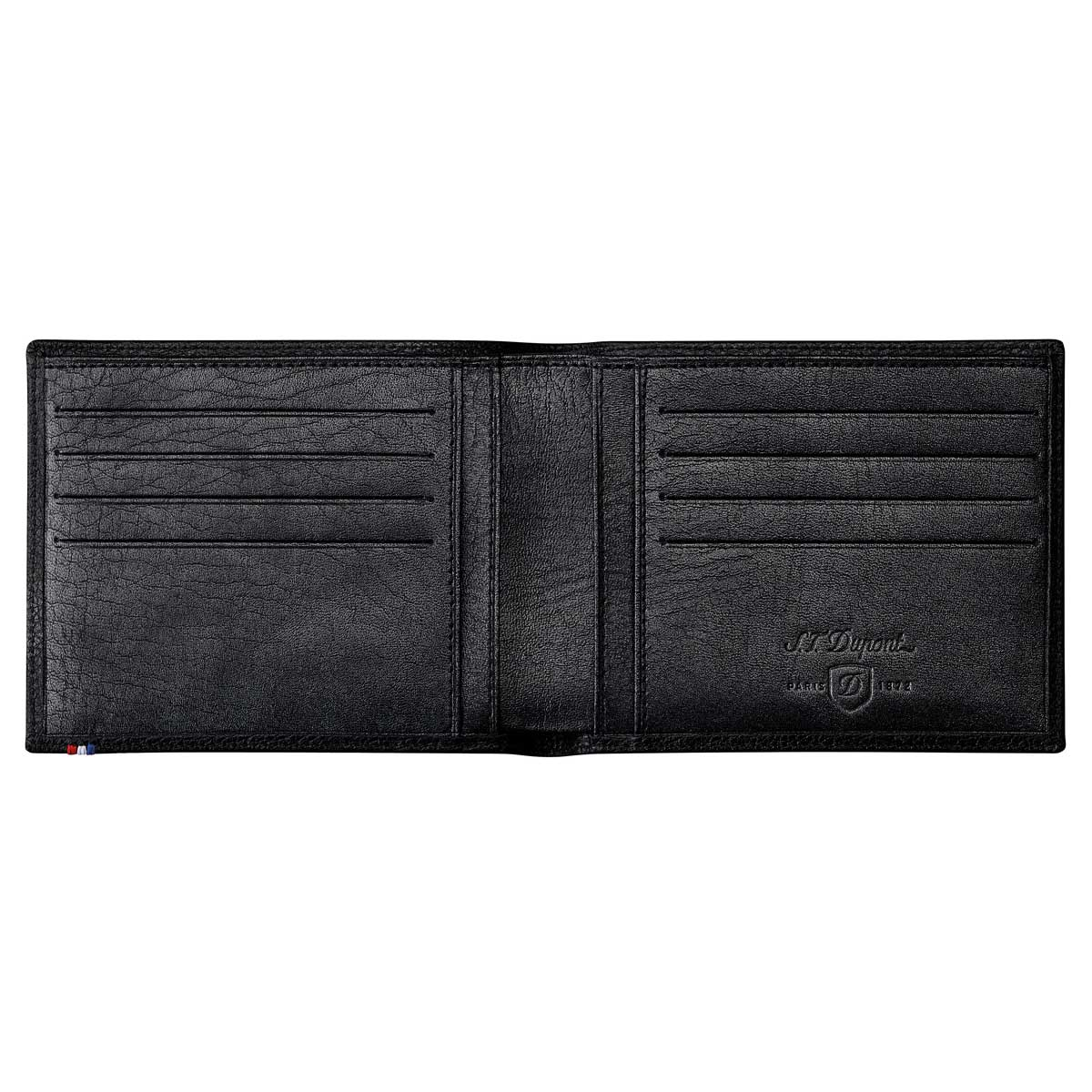 ST Dupont Soft Diamond Grained Black Leather Men's RFID Bifold Wallet - 8 Credit Card
