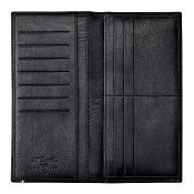 ST Dupont Soft Diamond Grained Black Leather Men's Long Vertical RFID Wallet